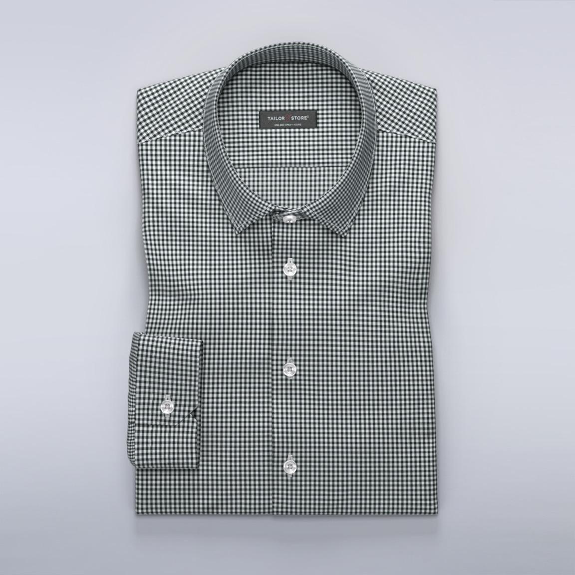 Rutete dresskjorte i sort/hvit