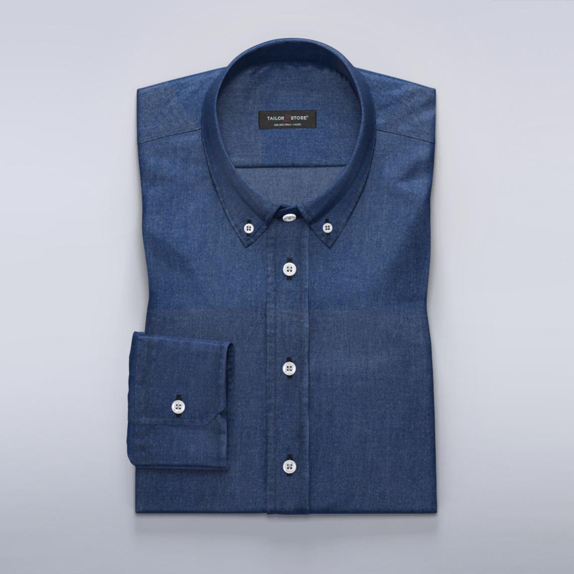 Donkerblauw denim overhemd