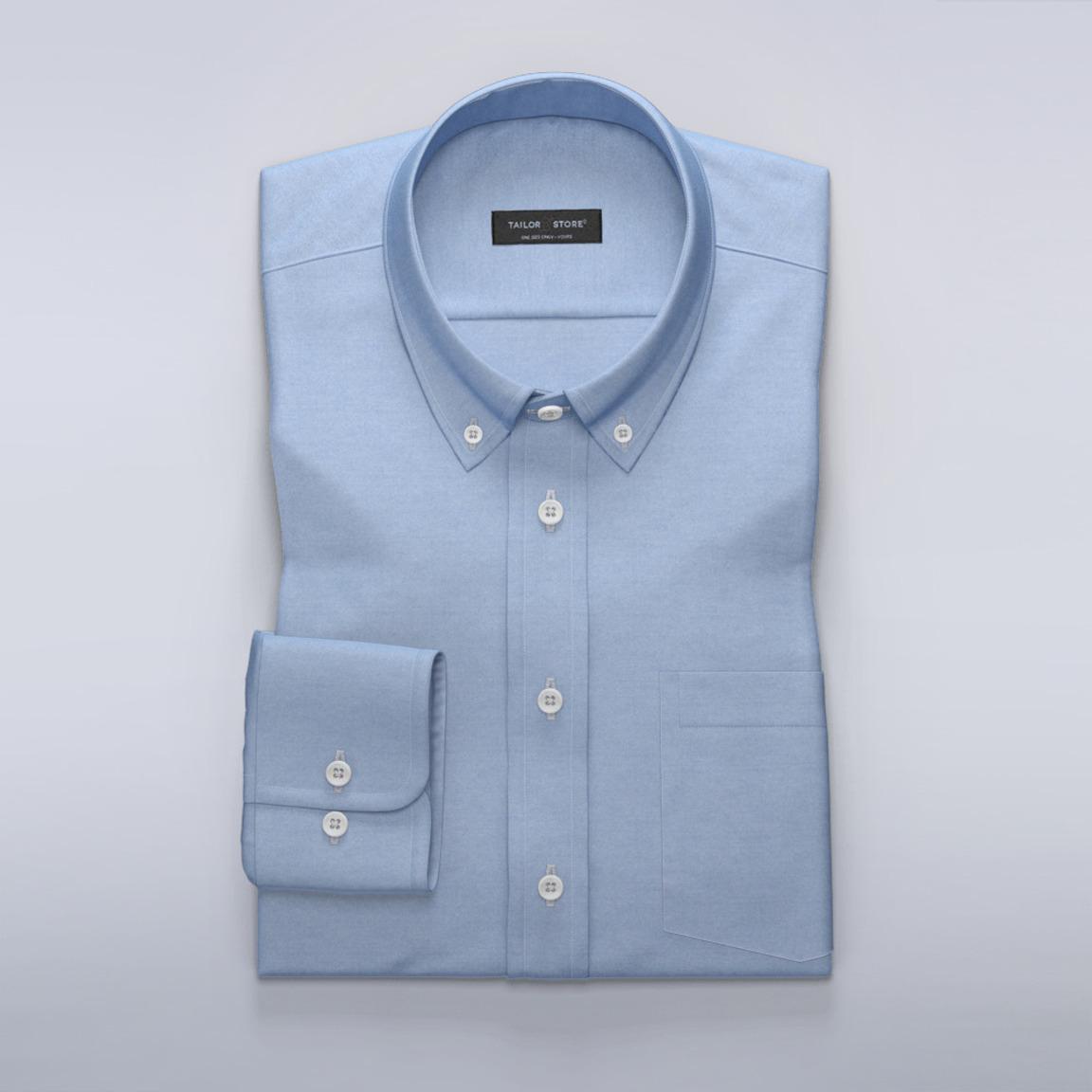 Blaues Oxford Hemd mit Nadelspitze