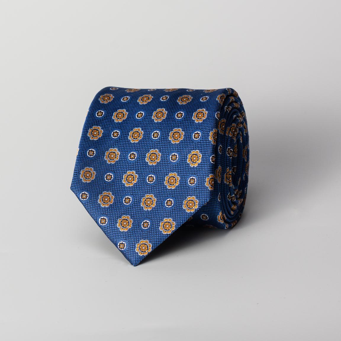 Cravate en soie en bleu fleuri