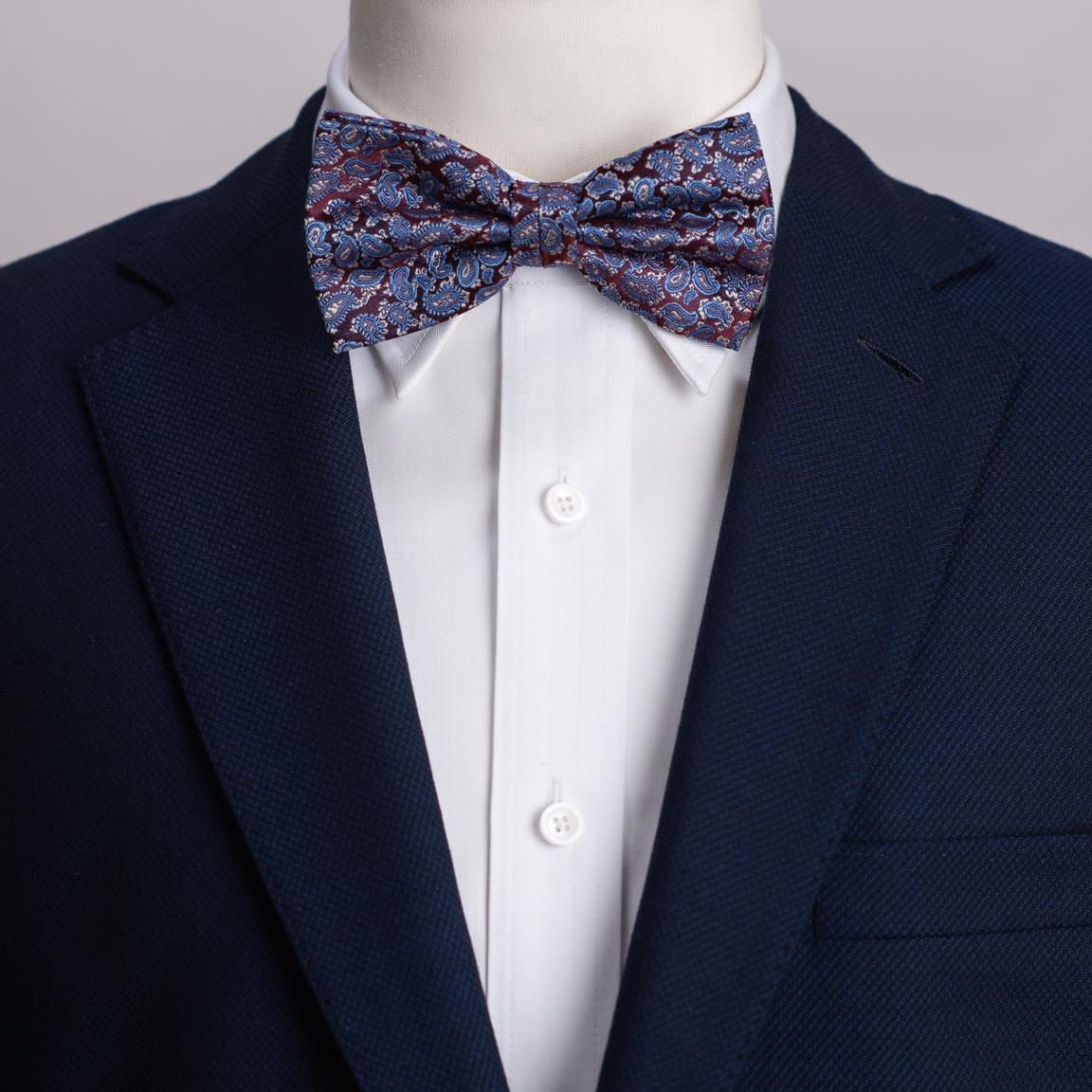 Wine & blue paisley bow tie