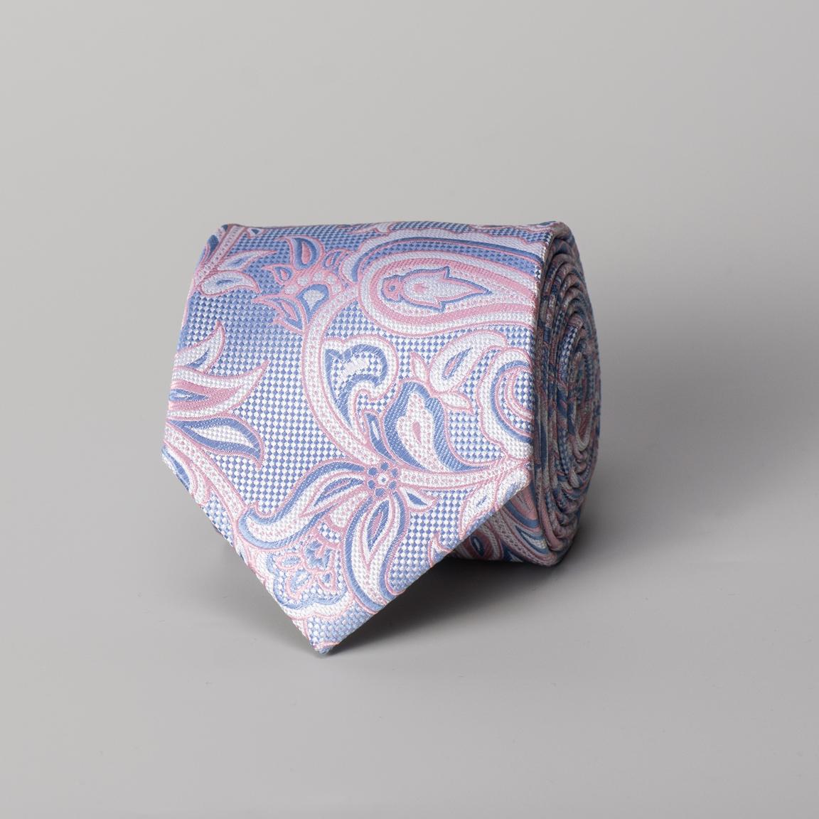 Vaaleanpunainen, paisley-kuvioitu silkkisolmio