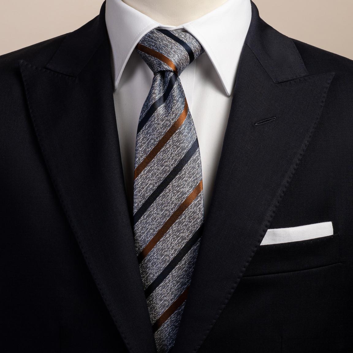 Striped blue silk tie