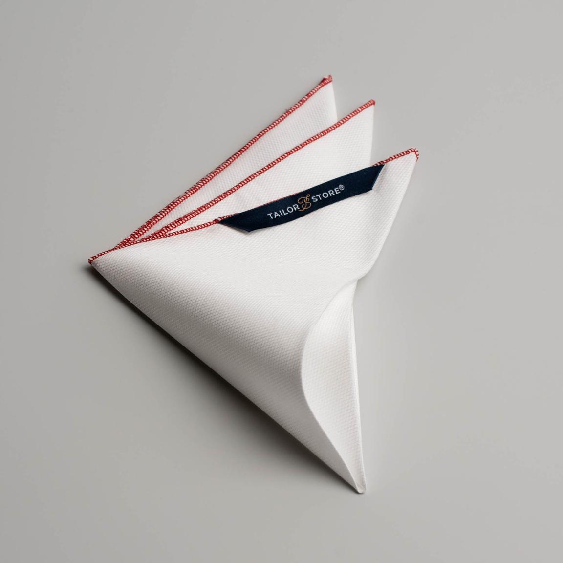Weißes Einstecktuch mit rotem Rollsaum