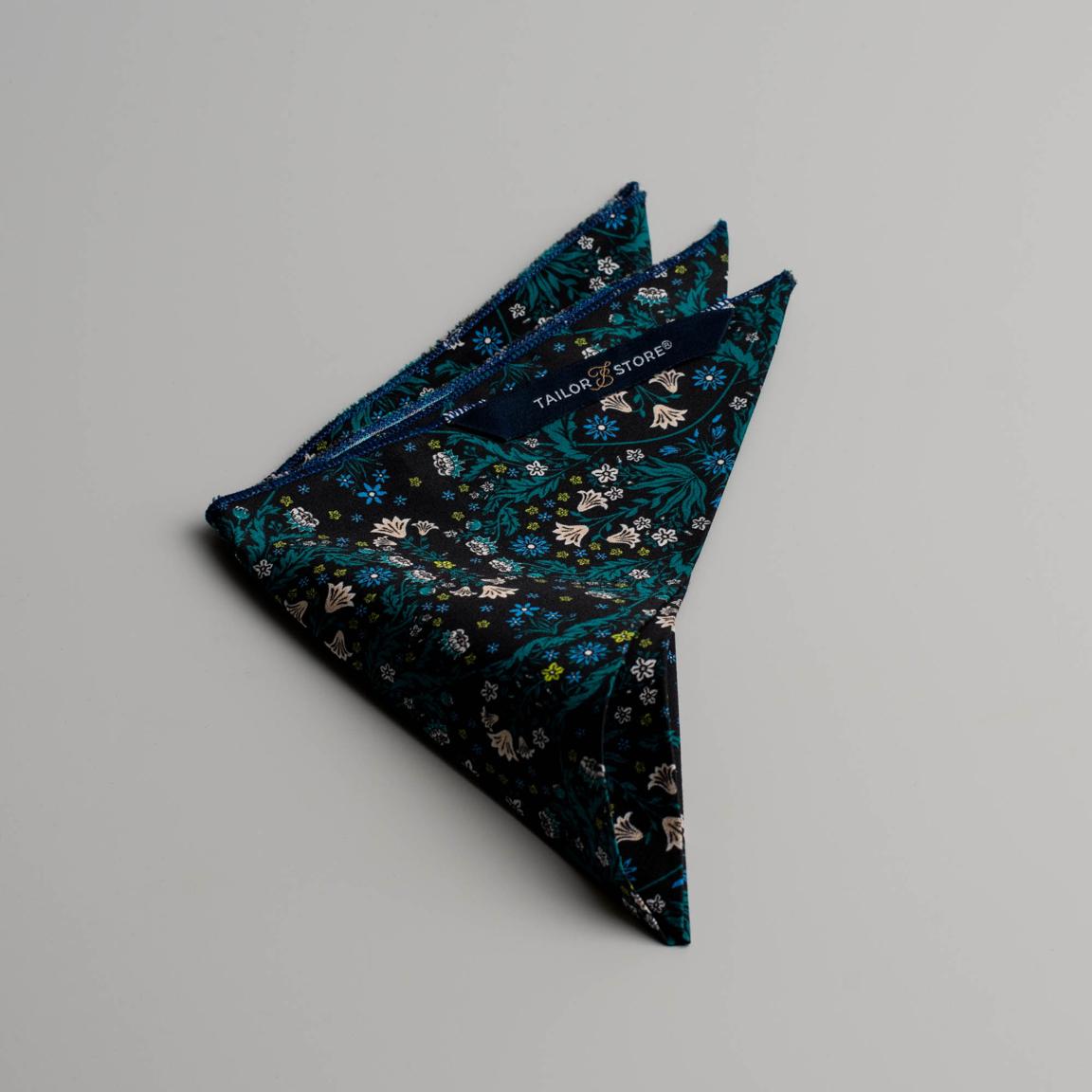 Mouchoir de poche à fleur turquoise