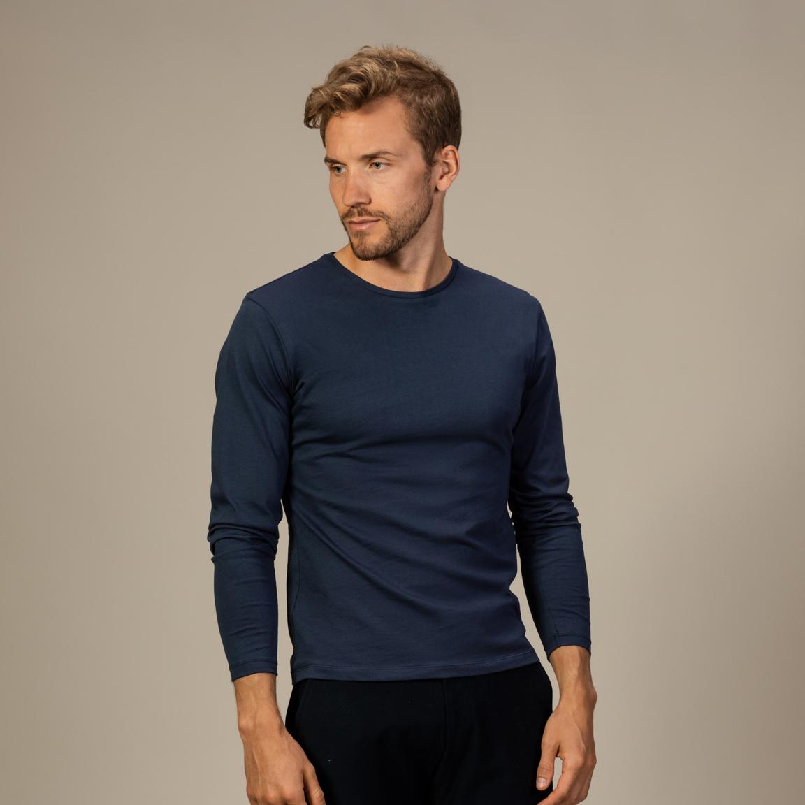 Navy T-shirt met lange mouwen