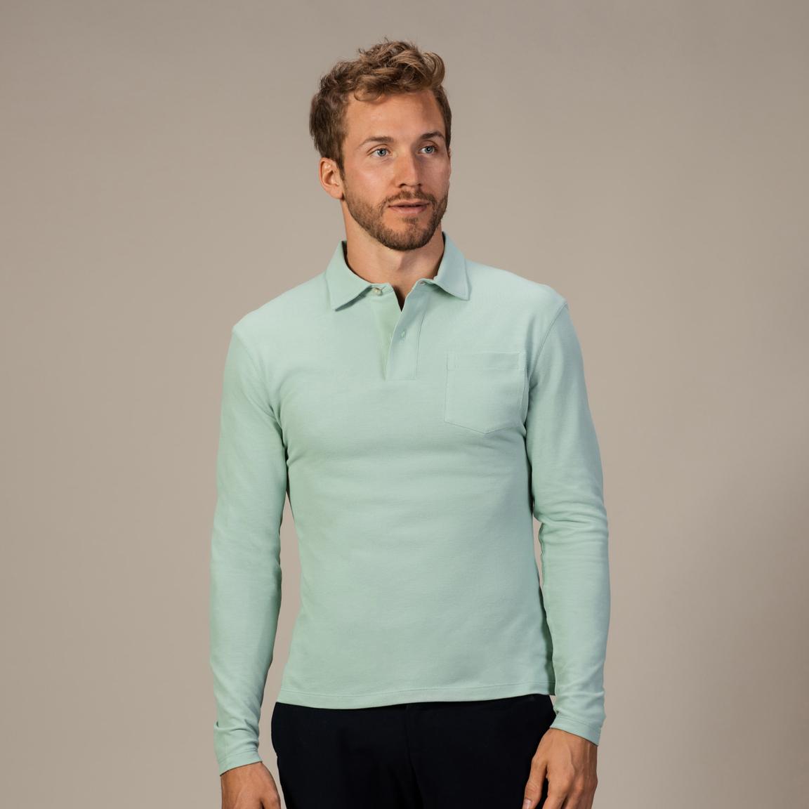 Pistachio long-sleeved polo shirt
