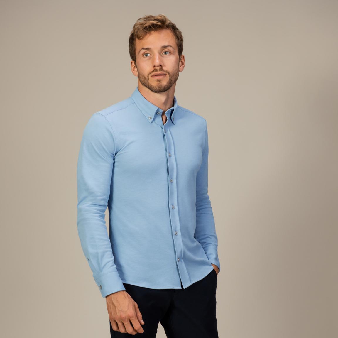 Sky blue long-sleeved button down piqué shirt