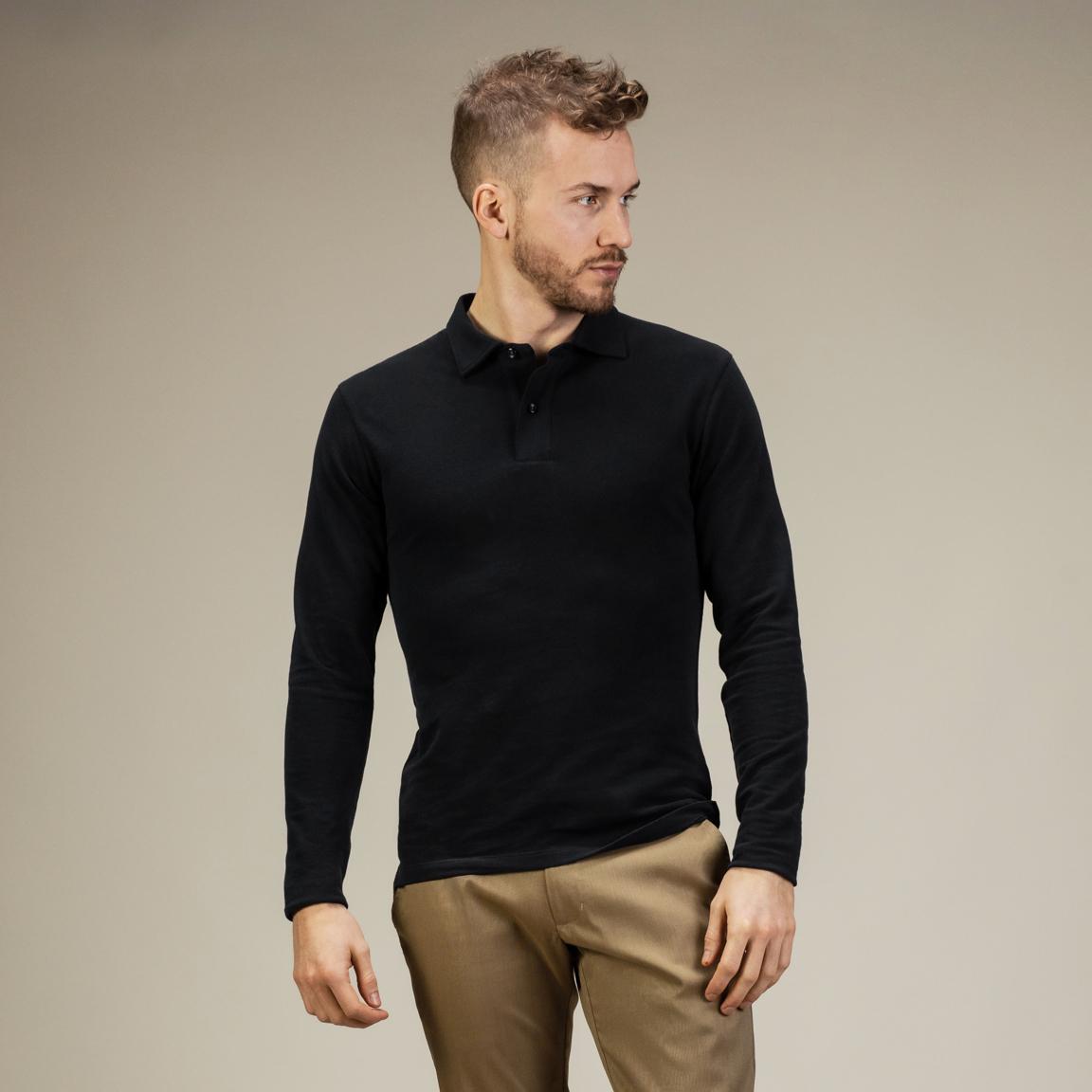 Black long-sleeved polo shirt