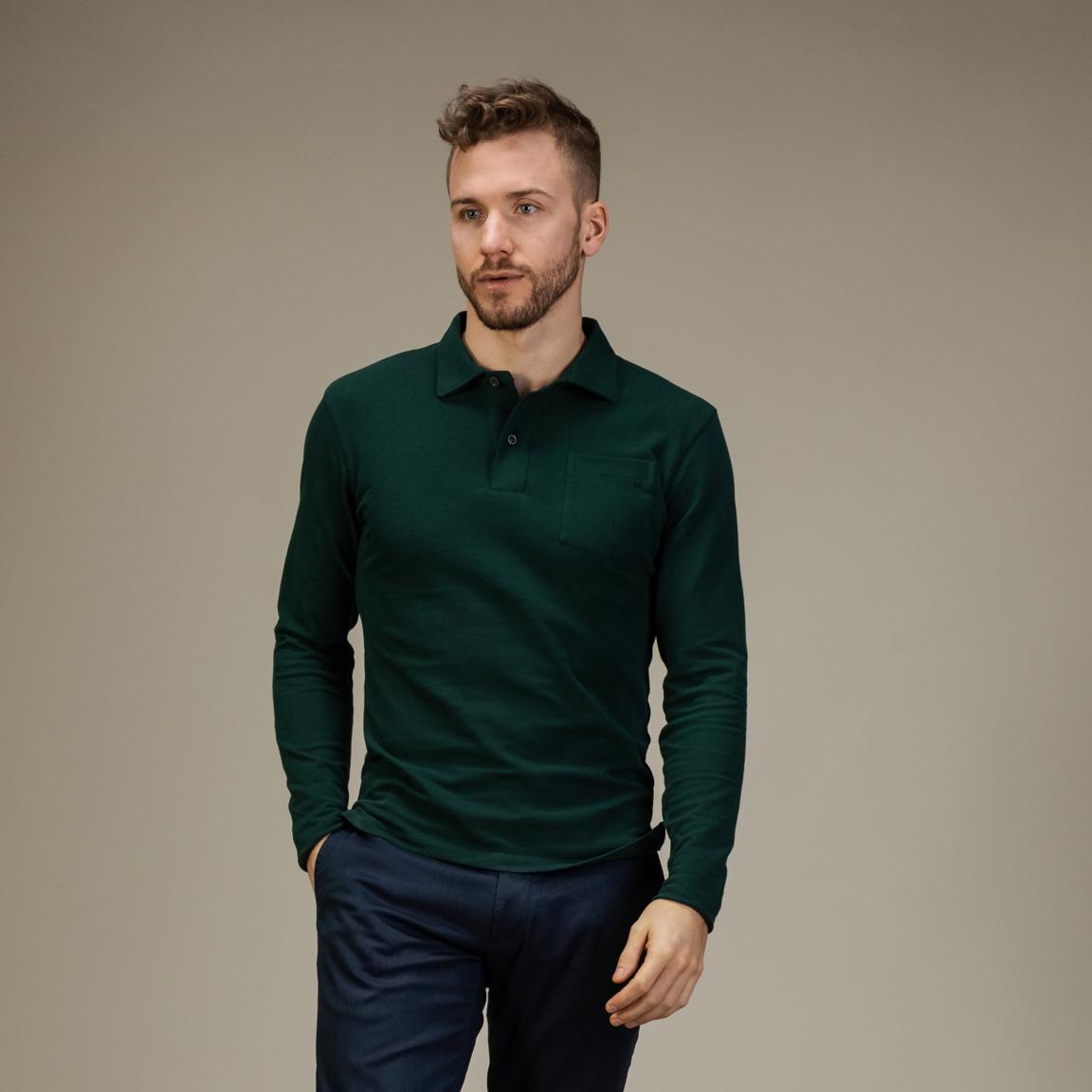 Smaragdgrünes Polohemd mit langen Ärmeln