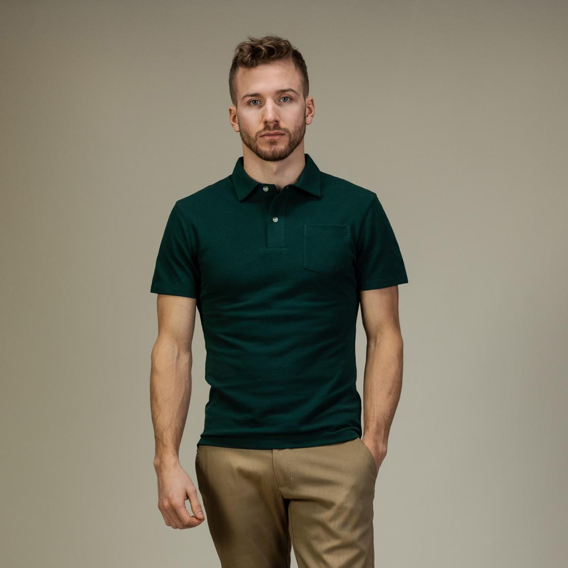 Smaragdgrøn kortærmet polo-skjorte