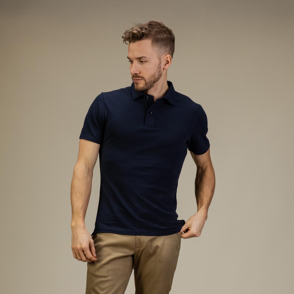 Navy short-sleeved polo shirt