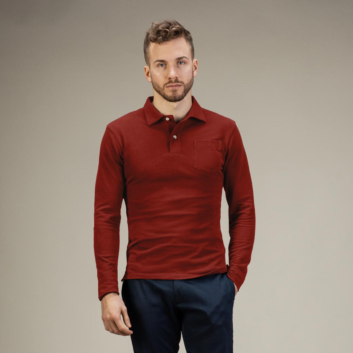 Dark red long-sleeved polo shirt