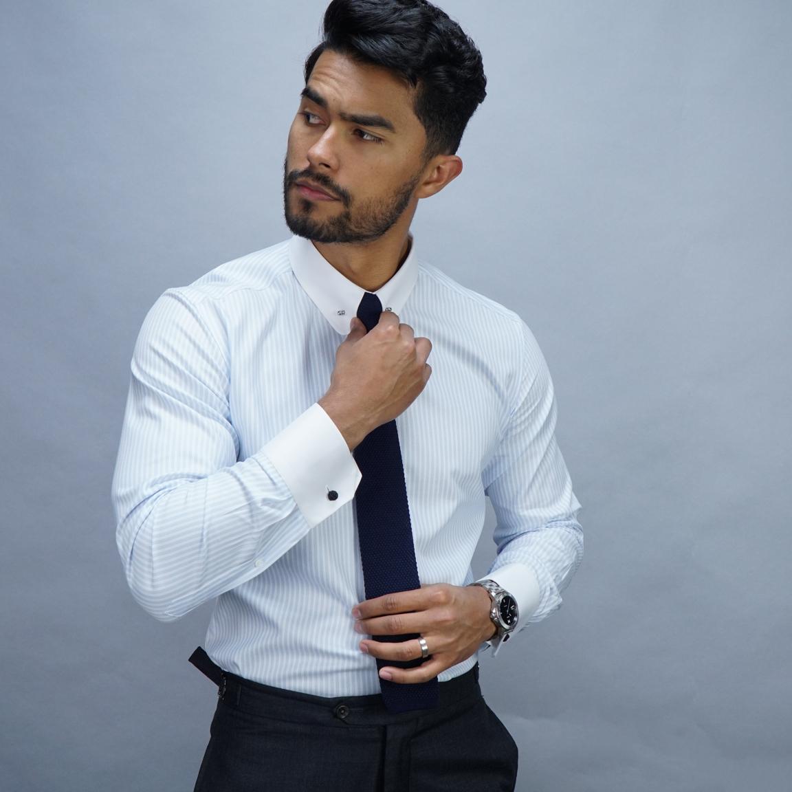 TMF - Business dress shirt in luxurious white and blue herringbone