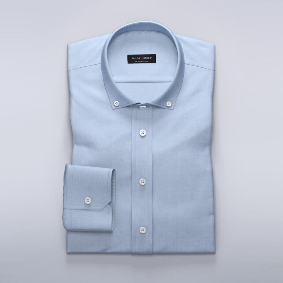 Men's Tops TMF - Light blue shirt in cotton-Tencel twill fabric
